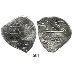 Potosi, Bolivia, cob 4 reales, (1)618, assayer not visible, Grade 1.