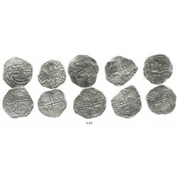 Lot of 5 Potosi, Bolivia, cob 4 reales, Philip III, various assayers (where visible), all Grade 1.