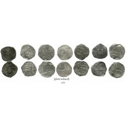 Lot of 7 Potosi, Bolivia, cob 4 reales, Philip II and III, various assayers (where visible), all Gra