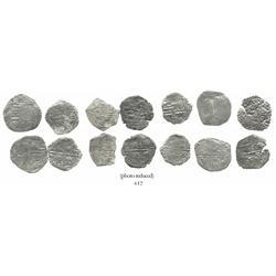Lot of 7 Potosi, Bolivia, cob 4 reales, Philip III, various assayers (where visible), all Grade 3.