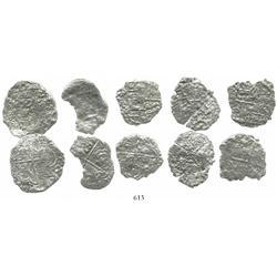 Lot of 5 Potosi, Bolivia, cob 4 reales, Philip III, assayers not visible, all Grade 4.