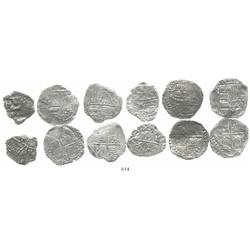 Lot of 6 Potosi, Bolivia, cob 4 reales, Philip III, various assayers (where visible), various Grades
