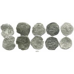 Lot of 5 Potosi, Bolivia, cob 4 reales, Philip III, various assayers (where visible), various Grades