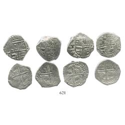 Lot of 4 Potosi, Bolivia, cob 2 reales, Philip III, various assayers (where visible), all Grade 1.