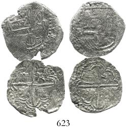Lot of 2 Potosi, Bolivia, cob 2 reales, Philip III, various assayers (where visible), both Grade 2.