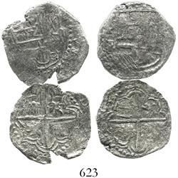 Lot of 2 Potosi, Bolivia, cob 2 reales, Philip III, various assayers (where visible), both Grade 2.