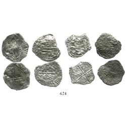 Lot of 4 Potosi, Bolivia, cob 2 reales, Philip III, various assayers (where visible), all Grade 3.