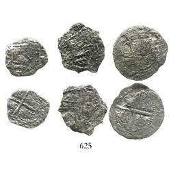 Lot of 3 Potosi, Bolivia, cob 2 reales, Philip II and III, various assayers (where visible), all Gra