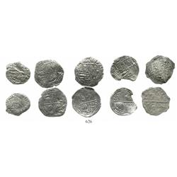 Lot of 5 Potosi, Bolivia, cob 2 reales, Philip II and III, various assayers (where visible), various