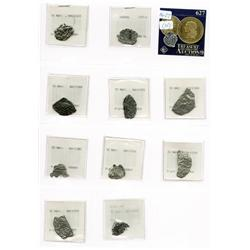 Lot of 10 fragments of Potosi cobs (various denominations) 9 no certificates but all original tags