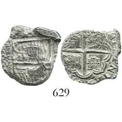 Madrid, Spain, cob 2 reales, Philip III, assayer V, Grade 3, rare as from this wreck.