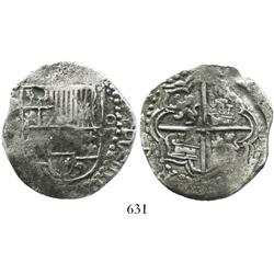 Potosi, Bolivia, cob 8 reales, Philip III, assayer M (possibly M/Q, quadrants of cross transposed, G