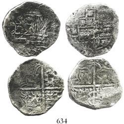 Lot of 2 Potosi, Bolivia, cob 4 reales, Philip III, various assayers (where visible), Grades 1 and 2