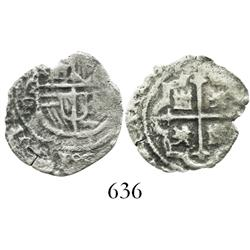 Mexico City, Mexico, cob 1 real, Philip II or III, assayer F, rare denomination for this wreck.