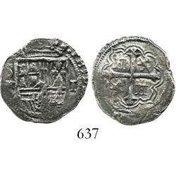 Mexico City, Mexico, cob 1 real, Philip II or III, assayer not visible, rare denomination for this w