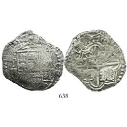 Potosi, Bolivia, cob 8 reales, Philip III, assayer not visible.