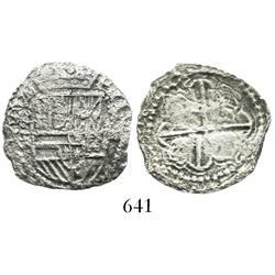 Potosi, Bolivia, cob 2 reales, Philip II, assayer not visible.
