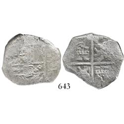 Spain (mint uncertain), cob 4 reales, Philip III, encapsulated NGC SHIPWRECK EFFECT and housed in pr