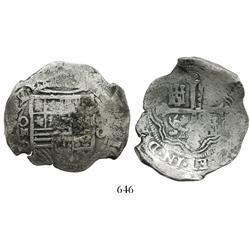 Mexico City, Mexico, cob 8 reales, (162)2/0D, clear overdate, stars in legend.