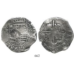 Potosi, Bolivia, cob 8 reales, (1649)O, with crowned-G countermark on shield side, rare.