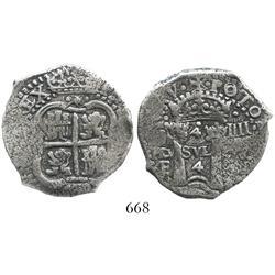Potosi, Bolivia, cob 4 reales, 1652E transitional Type II, rare.