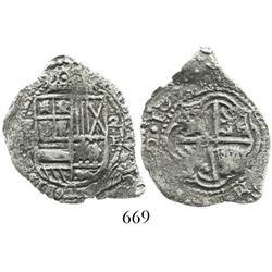 Potosi, Bolivia, cob 2 reales, 16(51-52)E, scarce.