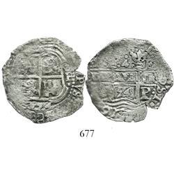 Potosi, Bolivia, cob 4 reales, 1654E.