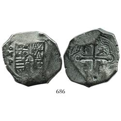 Mexico City, Mexico, cob 8 reales, Philip IV, assayer P, with punchmark as from circulation in Indon