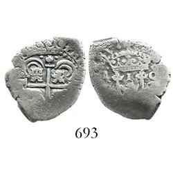 Potosi, Bolivia, cob 1 real, (1652)E transitional Type III variant with cross instead of shield, rar