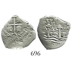 Potosi, Bolivia, cob 1 real, (1652)E transitional Type VII (post-transitional), with 1-PH-6 at top.