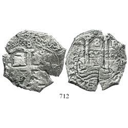 Potosi, Bolivia, cob 8 reales, 1679V, mintmark P at upper right, scarce variety.