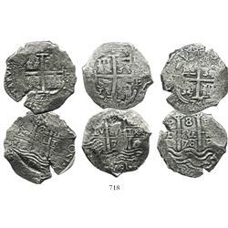 Lot of 3 Potosi, Bolivia, cob 8R: 1670E, 1671E and 1678E.