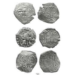 Lot of 3 Potosi, Bolivia, cob 8R: 1670E, 1679C and 1679V.