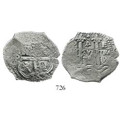 Potosi, Bolivia, cob 4 reales, 1678E, rotated denomination 4, scarce.