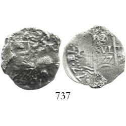 Potosi, Bolivia, cob 2 reales, 1677+776E, scarce error.