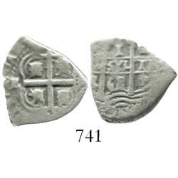 Potosi, Bolivia, cob 1 real, 1668E, assayer to left of cross, rare.