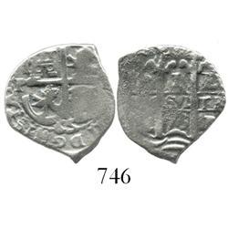 Potosi, Bolivia, cob 1 real, 1675+65E, rare error.