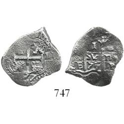 Potosi, Bolivia, cob 1 real, 1677/6E, rare.