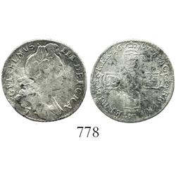York, England, sixpence, William III, 1697-Y, scarce.