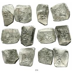 Lot of 6 Mexico City, Mexico, cob 8 reales, Philip V, assayers not visible.
