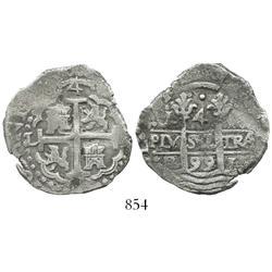 Lima, Peru, cob 4 reales, 1699R.