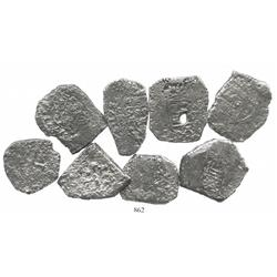 Lot of 8 Mexico City, Mexico, cob 8R, dated 1731-33F (where visible).
