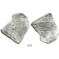Mexico City, Mexico, cob 8 reales, Philip V, assayer D (1726-8).