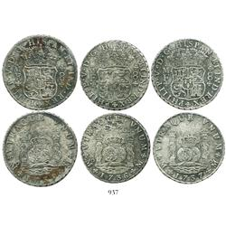 Lot of 3 Mexico City, Mexico, pillar 8 reales, Philip V, date-run of 1735MF, 1736MF and 1737MF.