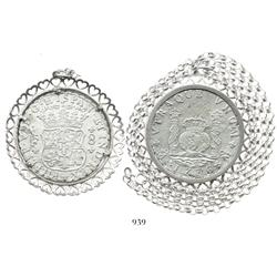Mexico City, Mexico, pillar 8 reales, Philip V, 1736MF, mounted in a sterling silver bezel (hearts d