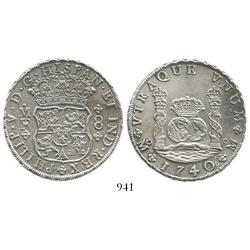 Mexico City, Mexico, pillar 8 reales, Philip V, 1740MF.