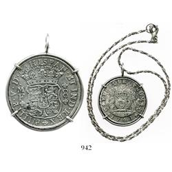 Mexico City, Mexico, pillar 8 reales, Philip V, 1741MF, mounted in sterling silver bezel with neckla