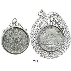 Mexico City, Mexico, pillar 4 reales, Philip V, 1738MF, mounted in a sterling silver bezel with neck