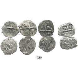 Lot of 4 Mexico City, Mexico, and Lima, Peru, cob 1R, all with visible dates in the 1730s.