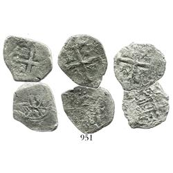 Lot of 3 Mexico City, Mexico, and Lima, Peru, cob 2R, from the 1730s, two with visible dates.